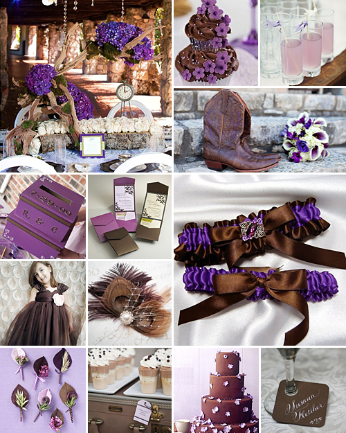 purple and brown weddings