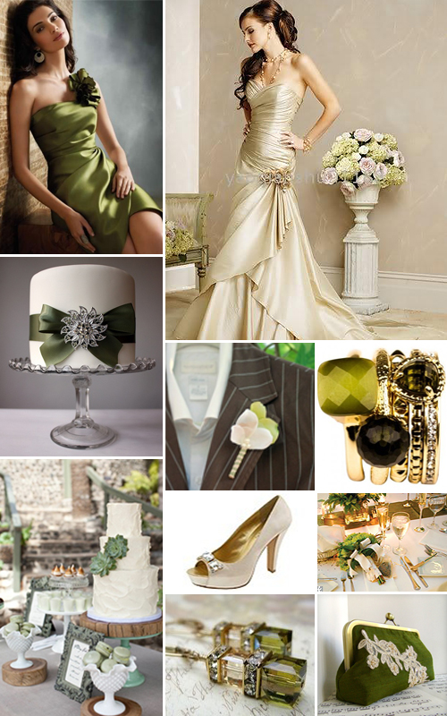 Champagne and olive green weddings for Olive green colour combination