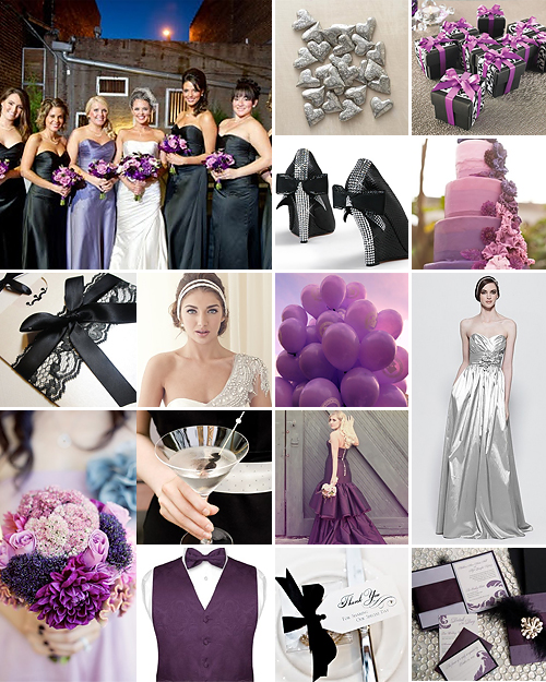Purple Black And Silver Weddings
