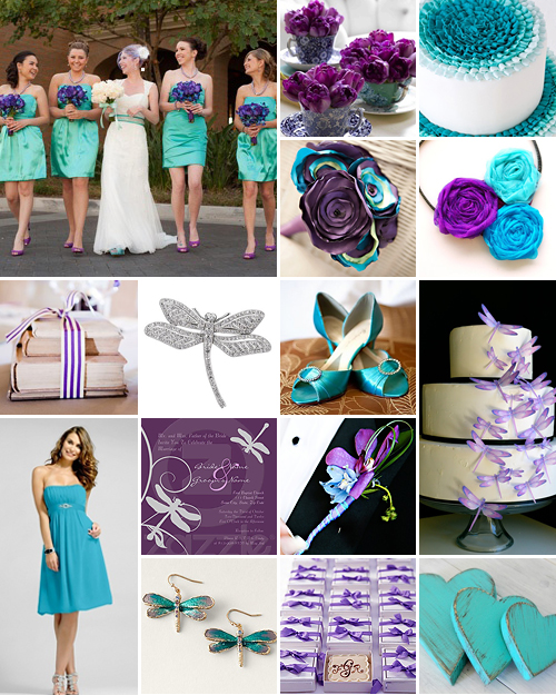 Turquoise Purple And Dragonflies Wedding