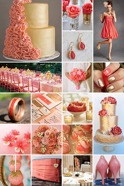 coral and gold weddings