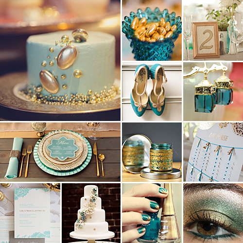 teal and gold weddings