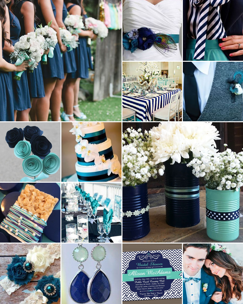 Teal And Navy Weddings
