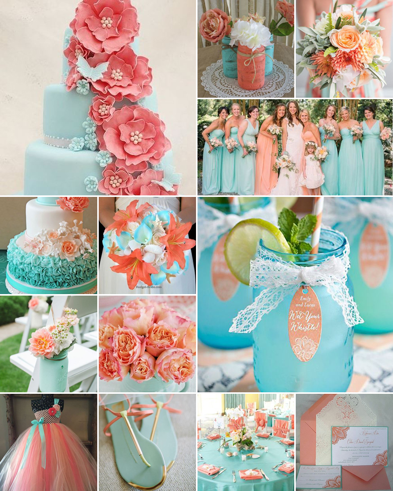 aqua-and-peach-weddings