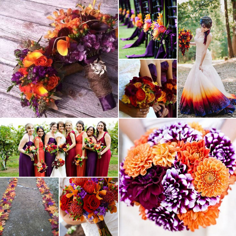 purple orange and burgundy wedding colours