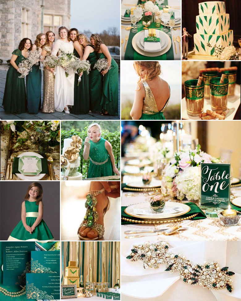 Emerald And Gold Weddings