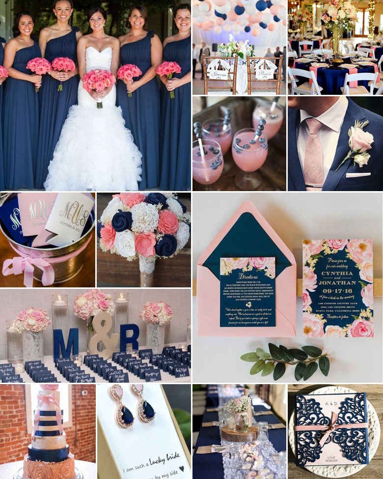 Navy And Blush Wedding.Navy And Pink Wedding Colours