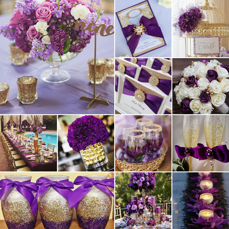 Purple and gold wedding colours we havent really been making a secret of the fact that we love gold this time around we say bring on the purple too because this regal combination is junglespirit Image collections