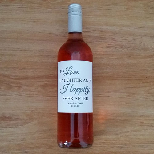 Love Laughter and Happily Ever After Wine Label – White